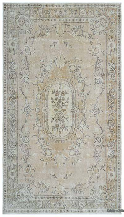 Beige Over-dyed Turkish Vintage Rug - 4'7'' x 8'1'' (55 in. x 97 in.)