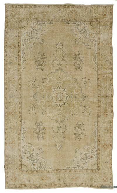 Beige Over-dyed Turkish Vintage Rug - 5'10'' x 10' (70 in. x 120 in.)