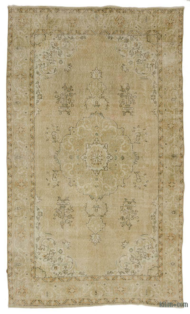 K0031309 Beige Over Dyed Turkish Vintage Rug 5 10 X 10