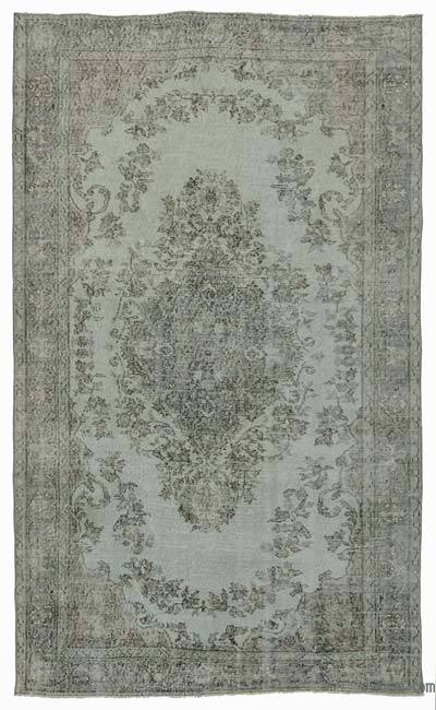 Light Blue Over-dyed Turkish Vintage Rug - 5'1'' x 8'8'' (61 in. x 104 in.)