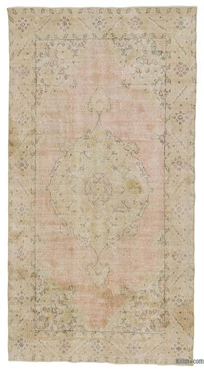 Beige Over-dyed Turkish Vintage Rug - 4'8'' x 8'10'' (56 in. x 106 in.)