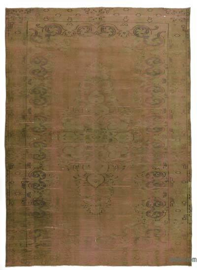 Green, Pink Over-dyed Turkish Vintage Rug - 5'6'' x 7'9'' (66 in. x 93 in.)