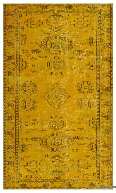 Yellow Over-dyed Turkish Vintage Rug - 4'11'' x 8'9'' (59 in. x 105 in.)