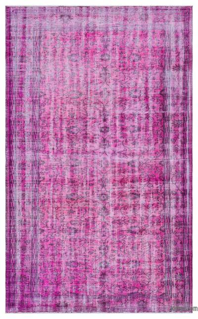 Purple Over-dyed Turkish Vintage Rug - 5'5'' x 8'2'' (65 in. x 98 in.)