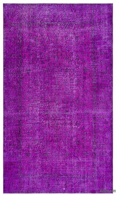 Purple Over-dyed Turkish Vintage Rug - 5'3'' x 9'1'' (63 in. x 109 in.)