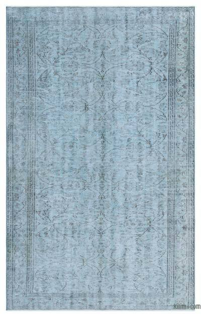 Blue Over-dyed Turkish Vintage Rug - 4'7'' x 7'5'' (55 in. x 89 in.)