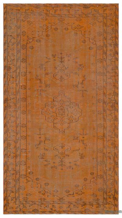 Orange Over-dyed Turkish Vintage Rug - 4'8'' x 8'6'' (56 in. x 102 in.)