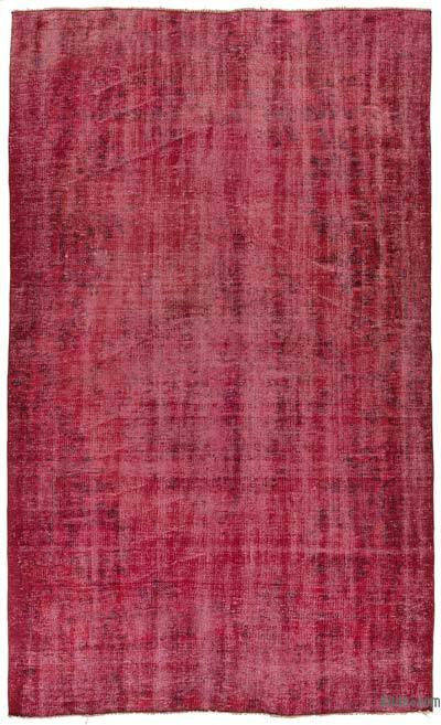 Red Over-dyed Turkish Vintage Rug - 4'8'' x 7'8'' (56 in. x 92 in.)