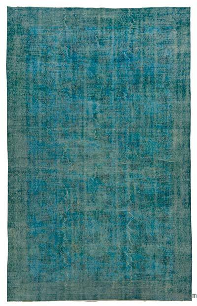 Turquoise Over-dyed Turkish Vintage Rug - 5'4'' x 8'9'' (64 in. x 105 in.)