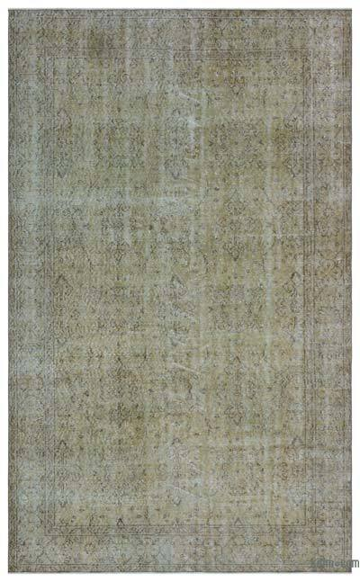 Beige Over-dyed Turkish Vintage Rug - 5'7'' x 9'2'' (67 in. x 110 in.)