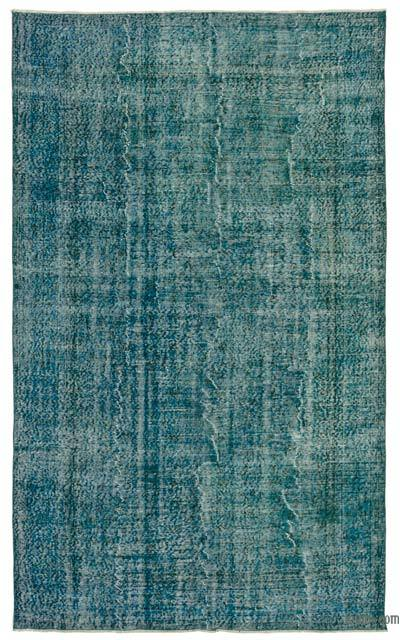 Turquoise Over-dyed Turkish Vintage Rug - 5'8'' x 9'4'' (68 in. x 112 in.)