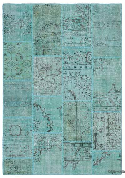 Turquoise Over-dyed Turkish Patchwork Rug - 5'3'' x 7'7'' (63 in. x 91 in.)