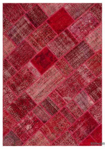 Over-dyed Turkish Patchwork Rug - 5'3'' x 7'7'' (63 in. x 91 in.)