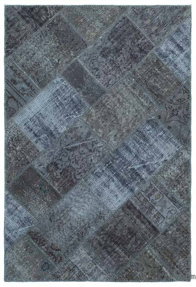 Grey Over-dyed Turkish Patchwork Rug - 3'11'' x 5'11'' (47 in. x 71 in.)