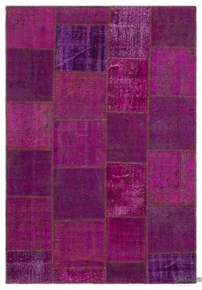 Fuchsia Over-dyed Turkish Patchwork Rug - 5'3'' x 7'7'' (63 in. x 91 in.)