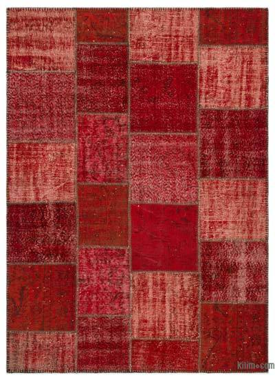 Red Over-dyed Turkish Patchwork Rug - 5'3'' x 7'7'' (63 in. x 91 in.)