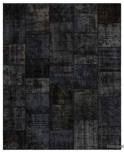 Black Over Dyed Turkish Patchwork Rug 8 X 9 11