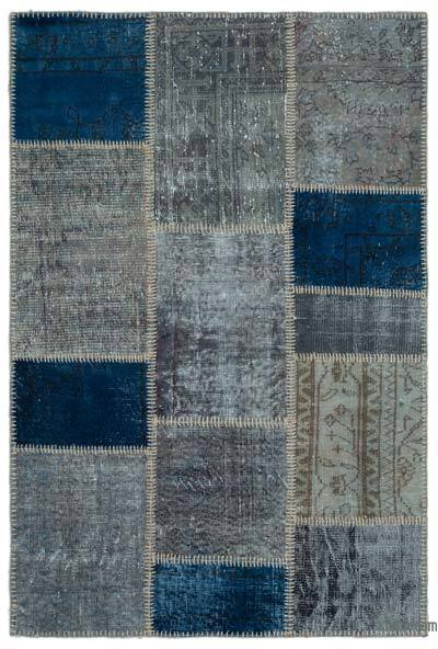 Blue, Grey Over-dyed Turkish Patchwork Rug - 3'11'' x 5'11'' (47 in. x 71 in.)