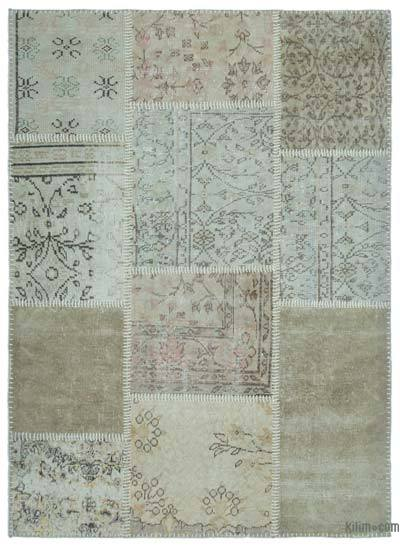 Beige Over-dyed Turkish Patchwork Rug - 4'3'' x 5'11'' (51 in. x 71 in.)