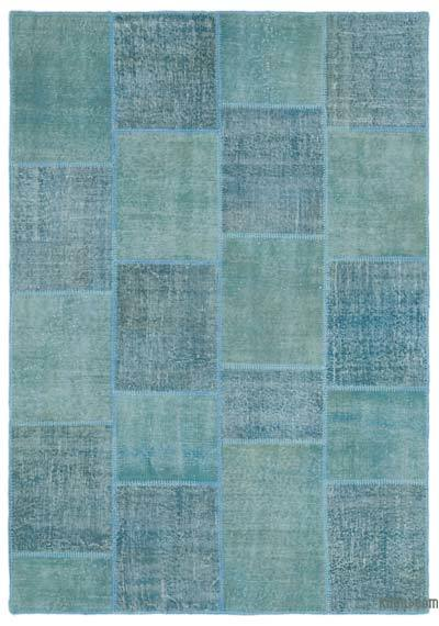 Blue Over-dyed Turkish Patchwork Rug - 5'3'' x 7'7'' (63 in. x 91 in.)