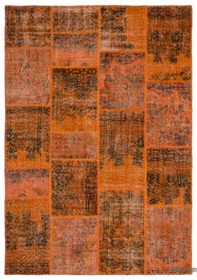 Orange Over-dyed Turkish Patchwork Rug - 5'3'' x 7'7'' (63 in. x 91 in.)