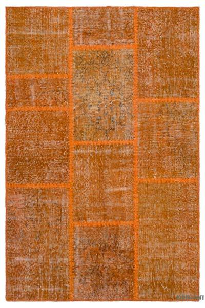 Orange Over-dyed Turkish Patchwork Rug - 3'11'' x 5'11'' (47 in. x 71 in.)