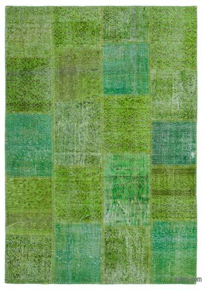 Green Over-dyed Turkish Patchwork Rug - 5'3'' x 7'7'' (63 in. x 91 in.)