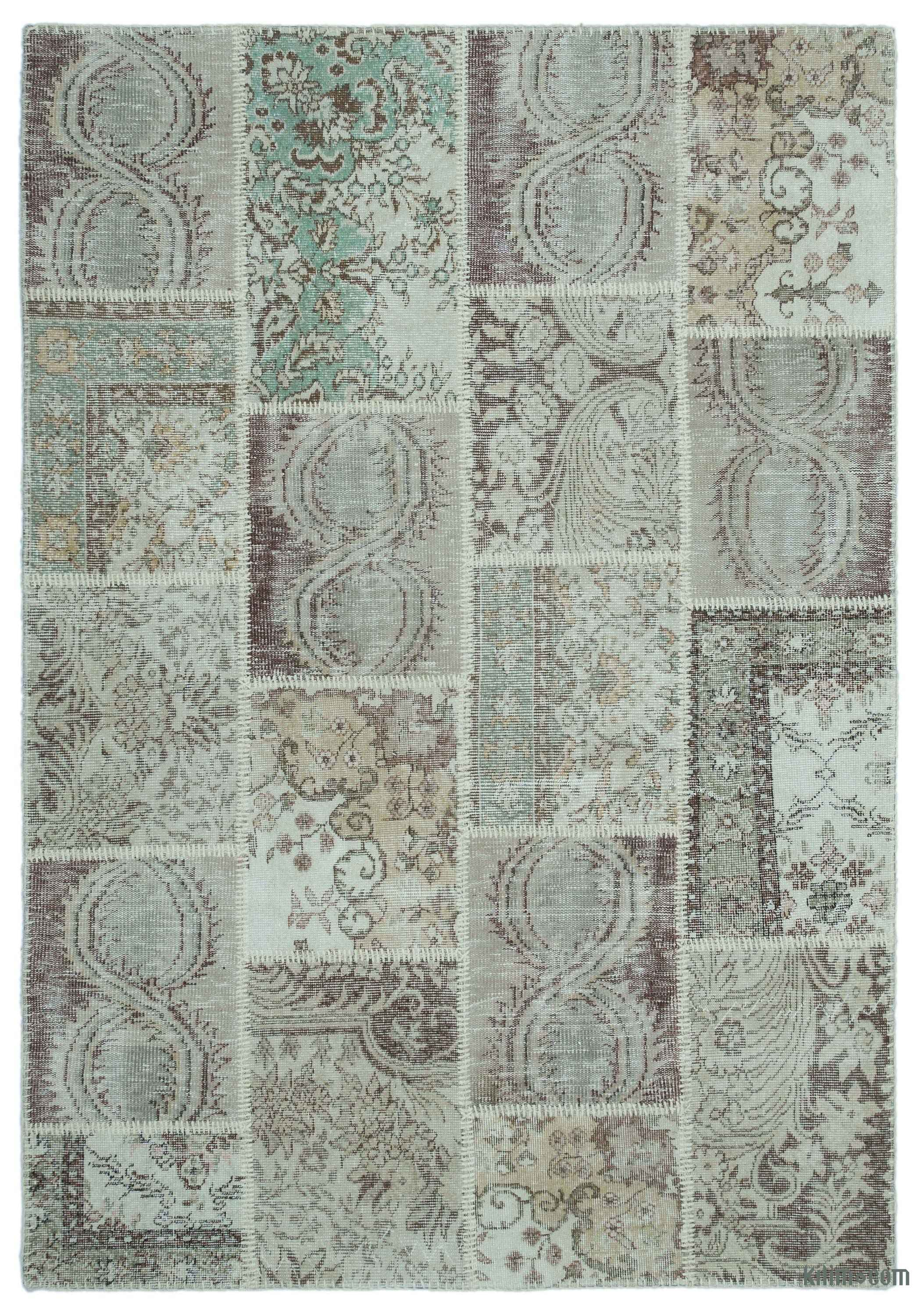Beige Over Dyed Turkish Patchwork Rug 5 3 X 7 63 In 91