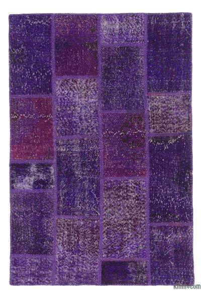 Purple Over-dyed Turkish Patchwork Rug - 3'11'' x 5'11'' (47 in. x 71 in.)