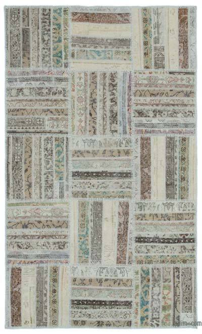 Beige Over-dyed Turkish Patchwork Rug - 3'11'' x 6'8'' (47 in. x 80 in.)