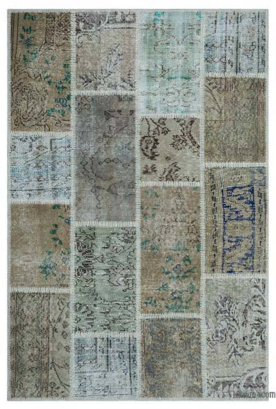 Beige Over-dyed Turkish Patchwork Rug - 3'11'' x 5'11'' (47 in. x 71 in.)