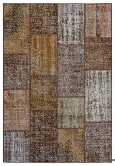 Brown Over-dyed Turkish Patchwork Rug - 5'3'' x 7'7'' (63 in. x 91 in.)