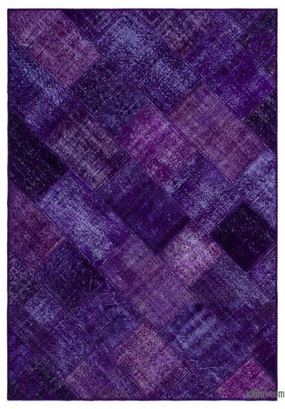 Purple Over-dyed Turkish Patchwork Rug - 5'3'' x 7'7'' (63 in. x 91 in.)