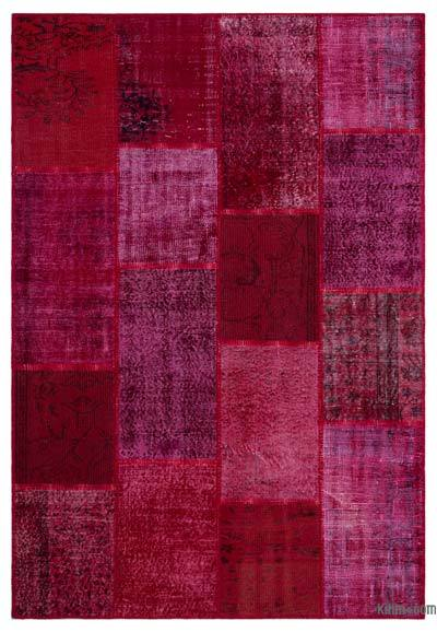 Red Over-dyed Turkish Patchwork Rug - 5'2'' x 7'7'' (62 in. x 91 in.)
