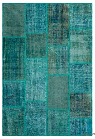 "Over-dyed Turkish Patchwork Rug - 5'1"" x 7'7"" (61 in. x 91 in.)"