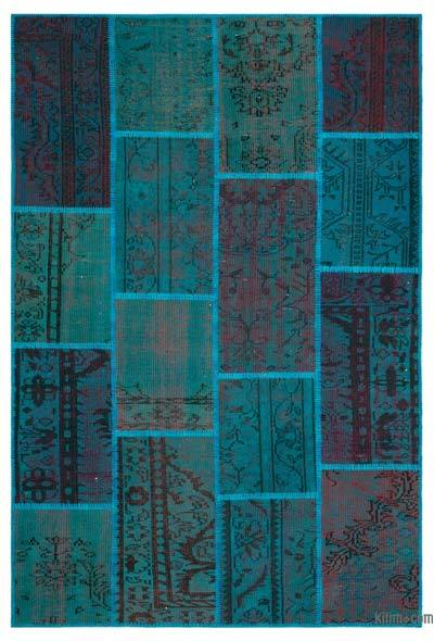 Turquoise Over-dyed Turkish Patchwork Rug - 5'1'' x 7'7'' (61 in. x 91 in.)