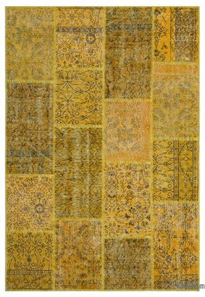 Yellow Over-dyed Turkish Patchwork Rug - 5'3'' x 7'7'' (63 in. x 91 in.)
