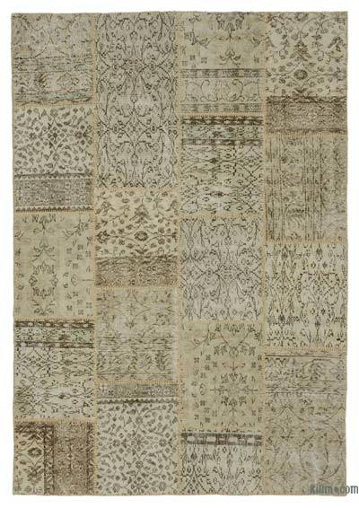 Beige Over-dyed Turkish Patchwork Rug - 5'3'' x 7'7'' (63 in. x 91 in.)