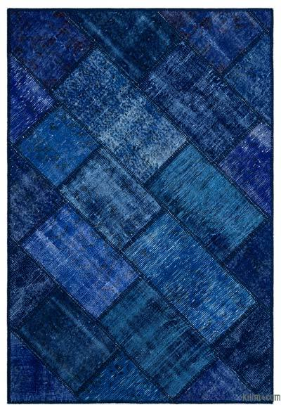 Blue Over-dyed Turkish Patchwork Rug - 3'11'' x 5'11'' (47 in. x 71 in.)