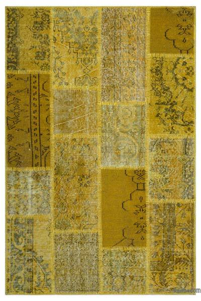 Yellow Over-dyed Turkish Patchwork Rug - 3'11'' x 5'11'' (47 in. x 71 in.)