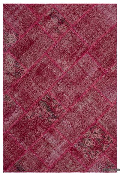 Red Over-dyed Turkish Patchwork Rug - 3'11'' x 5'11'' (47 in. x 71 in.)