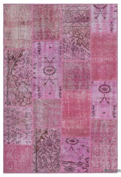 Pink Over-dyed Turkish Patchwork Rug - 3'11'' x 5'11'' (47 in. x 71 in.)