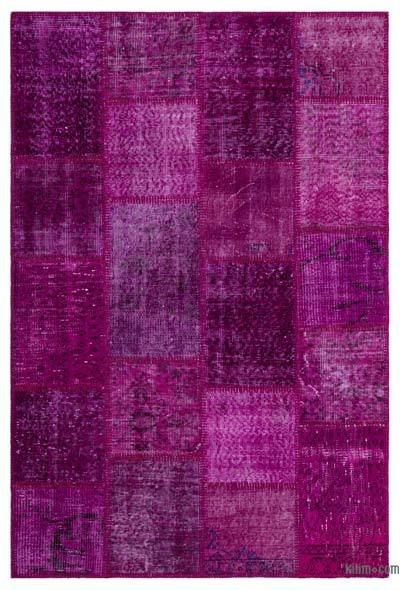 Fuchsia Over-dyed Turkish Patchwork Rug - 3'11'' x 5'11'' (47 in. x 71 in.)