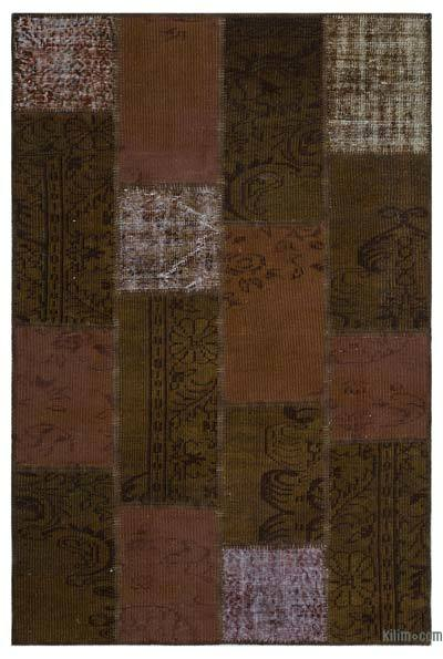 Brown Over-dyed Turkish Patchwork Rug - 3'11'' x 5'11'' (47 in. x 71 in.)