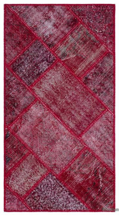 Red Over-dyed Turkish Patchwork Rug - 2'8'' x 5' (32 in. x 60 in.)
