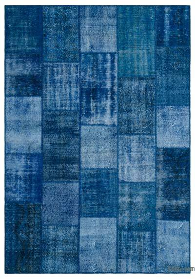 "Over-dyed Turkish Patchwork Rug - 6'5"" x 9'3"" (77 in. x 111 in.)"