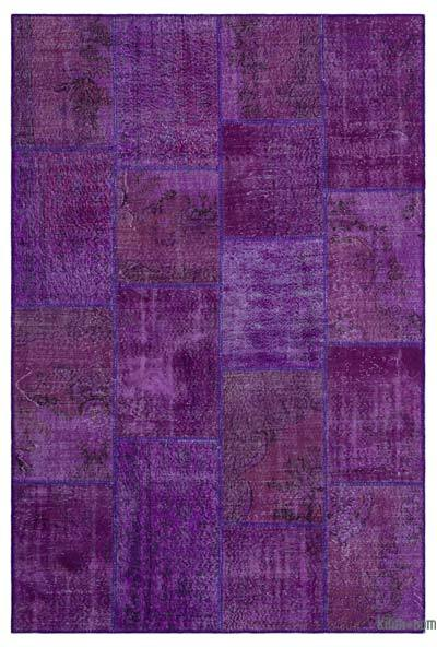 Purple Over-dyed Turkish Patchwork Rug - 6'3'' x 9'3'' (75 in. x 111 in.)