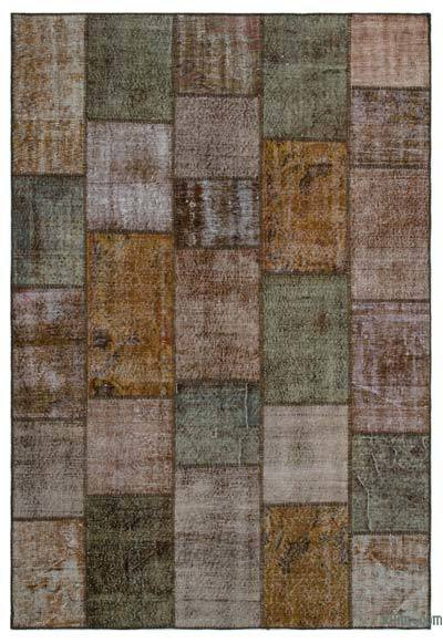 Brown Over-dyed Turkish Patchwork Rug - 6'3'' x 9'2'' (75 in. x 110 in.)