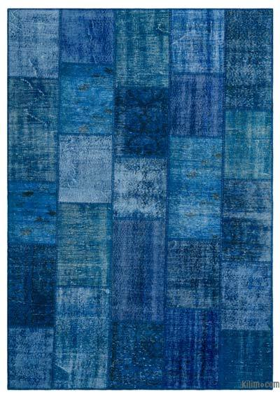 Blue Over-dyed Turkish Patchwork Rug - 6'4'' x 9'2'' (76 in. x 110 in.)