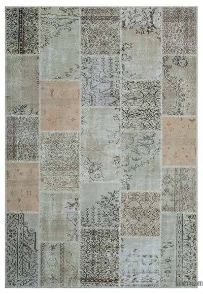 Beige Over-dyed Turkish Patchwork Rug - 6'5'' x 9'3'' (77 in. x 111 in.)